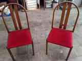 conjunto 6 sillas acolchadas en terciopelo rojo