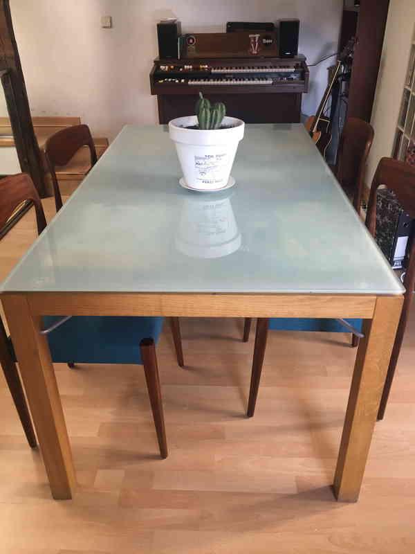 regalo - regalo mesa de comedor de madera y cristal con cajoneras ...