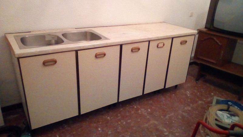 regalo - Encimera con muebles de cocina con fregadero doble ...
