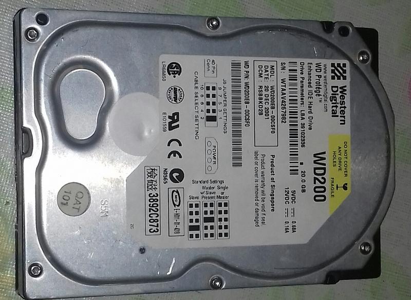 Disco duro de 20 gigas de ordenador de mesa.