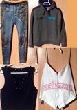 Grupo de ropa de chica joven.Leer bien