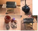 Lote variado: Barbacoa, macetas, soportes maceta y bomba de drenaje