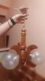 lámpara de madera de 3 focos.