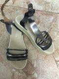 Sandalias mujer 37 (grandes) negro  + dorado