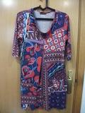 Vestido estampado mangas 3/4, talla L