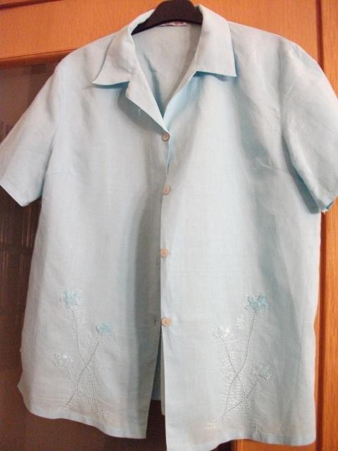 Blusa manga corta de lino turquesa, talla XL